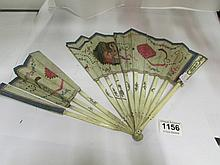 A bone, silver and silk hand painted and embroidered fan, a/f