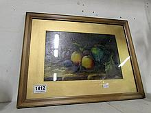 A still life oil painting under glass