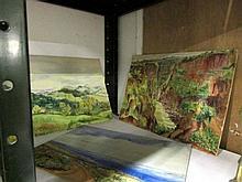 3 unframed watercolours