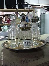A silver plated 4 bottle cruet