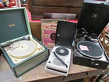 A picnic gramaphone, 2 others and records