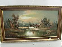 A German oil painting signed Waldeck (Paperwork in office)