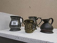 2 pewter tankards and 2 other items