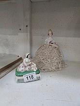An Edwardian pin doll and a 19th century pin box