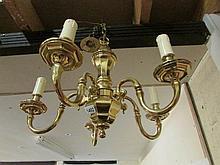 A brass 6 lamp ceiling light