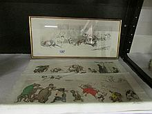 A framed and glazed Boris O'Klein and 2 unframed animal caricature pri
