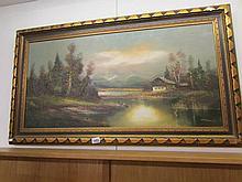 An oil on canvas alpine scene signed Waldeck