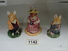 3 Royal Doulton Brambley Edge figures, Lord Woodmouse, Mrs Saltapple a