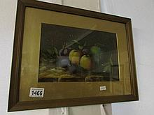 A framed and glazed still life of fruit
