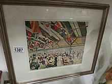 A framed and glazed watercolour signed but indistinct