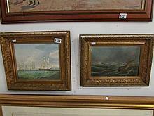 2 gilt framed oil on board maritime scenes