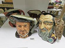 4 large Royal Doulton character jugs