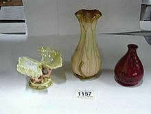 A Wedgwood lustre salt, A Crown Ducal Flambe' posy vase and a Royal Wo