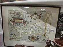 A framed and glazed 'Saxton's Map of Cornwall, 1576'