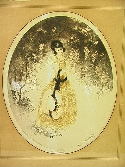 Jean Hardy Colored Etching Print of Girl with Bon