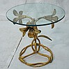 ARTHUR COURT Gilt Metal Floral Form Side Table. T