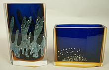 Two Czechoslovakian Art Glass Vase. EXBOR. Facete