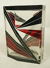 Etched Art Glass HAIDA Vase. Faceted Vase with En
