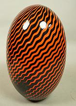 Large Egg Shaped Art Glass Vase. Orange & Black B