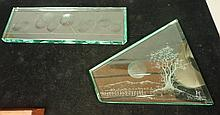 Two Etched Relief Glass Panels. Long rectangular