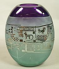GRANT '93 Etched Art Glass Vase. Glass is shaded