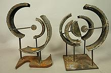 2pc Brutalist Welded Steel Table Sculptures. Curv