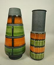 2pc West Germany Tall Pottery Vases. Vintage Cera