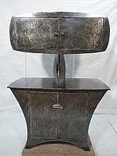 Brutalist Textured Steel Cabinet. Industrial Bowe