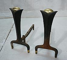 Pr DONALD DESKEY Brass and Iron Andirons. Not mar