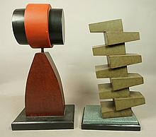 2 pcs CHARLES ALLMOND Machine Age Wood Sculptures