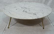 Large Round Marble Top Coffee Cocktail Table. Rob