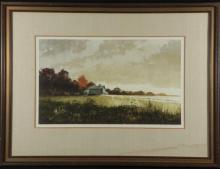 Jon Wills Orig Landscape Painting -Evening Fields Frmd