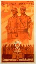 ORIG NAZI PROPAGANDA HANDBILL-WHW-1935-36 COLOR ARTWORK