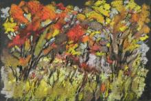 Jan Coventry Original Chalk Drawing Autumn Trees Fall