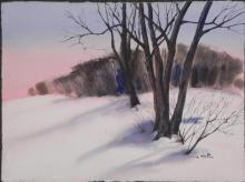 Al Stine Original Watercolor Painting Winter Landscape