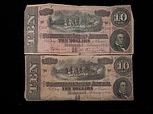 2 Different Confederate Paper Money $10 - Richmond 1864
