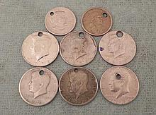 8 Holed Oddity Coins Sacagawea & Anthony $, Kennedy Hf
