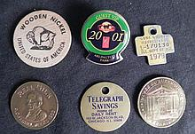 7 Different Medals, Coins, Wood Nickels, Pin, Dogtag