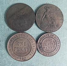 2 Australia and 2 Great Britain One Penny Coins