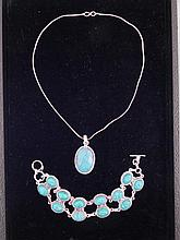 Turquoise Sterling Double Bracelet Pendant Necklace Set