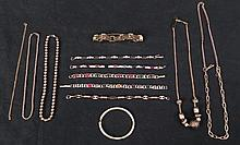 10 Pc Costume Jewelry Lot Gold Tone Necklaces Bracelets