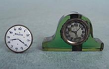 2 Vintage Clock /Watch Items Cufflink, Pencil Sharpener