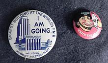2 Original Pin Backs, Chicago Worlds Fair, Century