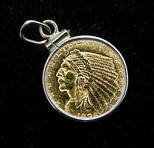 1925 2.5 Dollar Gold Coin with Gold Jewelry Holder
