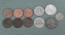 Canada Lot 11 Coins Silver Quarters & Dime,Cents,Nickle
