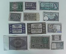 13 PCS OF OLD CURRENCY-GERMAN,FRENCH,INDIA,CANADA,ITALY