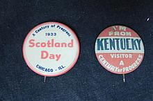2 Century of Progress 1933 Chicago Pin Backs
