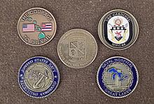 5 CHALLENGE COINS--4 NAVY--1 ARMY-HIGH QUALITY
