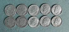1 Lot of 10 Different Dated Roosevelt Dimes 1946-1963