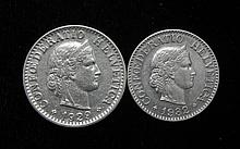 2 Gem Unc Choice Swiss 10 + 20 Rappen Coins 1932 + 1929
